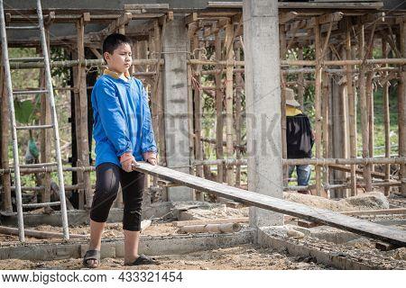 Against Child Labor. Children Working Hard At Construction Sites. Child Labor.