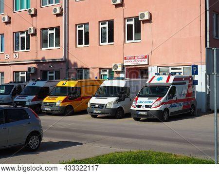 May 27, 2021. Sremska Mitrovica, Serbia. An Ambulance Stands At The Building Of A Covid Hospital. Se