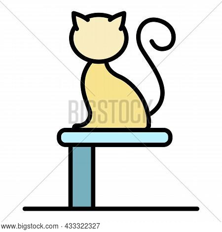 Cat On Stand Icon. Outline Cat On Stand Vector Icon Color Flat Isolated