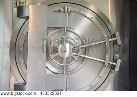 Bank Vault With Door Closed. Concept Of Save Money And Treasures