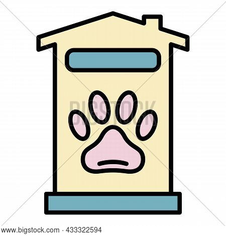 Pet Hotel House Icon. Outline Pet Hotel House Vector Icon Color Flat Isolated
