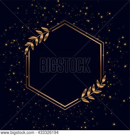 Golden Frame With Sparkles And Leaves Background Vector Design Illustration
