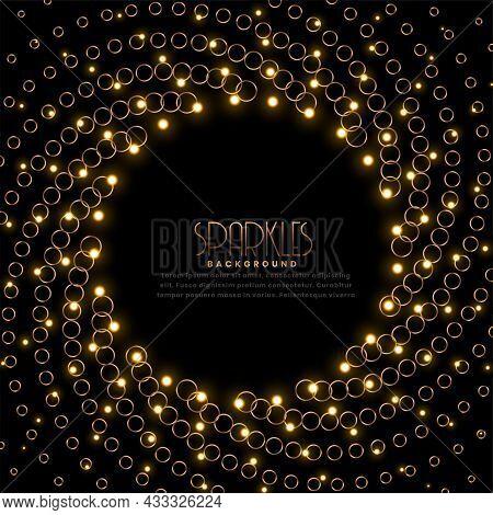 Swirl Golden Sparkles Frame On Black Background Vector Design Illustration