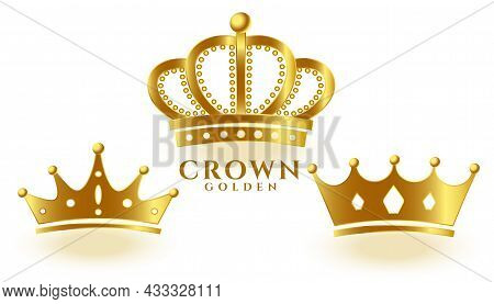 Realistic Golden Crown Set For King Or Queen Vector Design Illustration