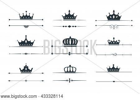 Set Of Crown Logo Type Border Vector Design Illustration