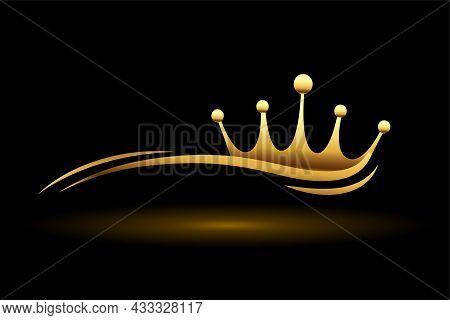 Golden Crown With Wave Line Vector Design Illustration