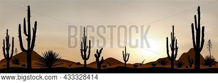 Sunset In The Mexican Desert. Silhouettes Of Stones, Cacti And Plants. Desert Landscape With Cacti.