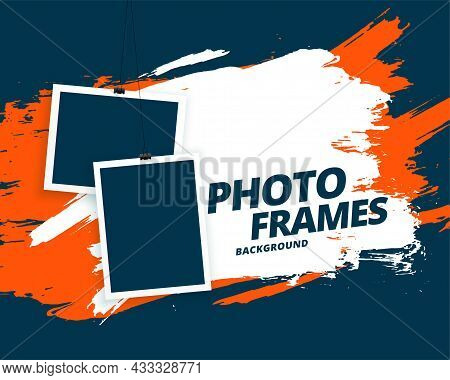 Abstract Grunge Style Photo Frames Background Vector Design Illustration