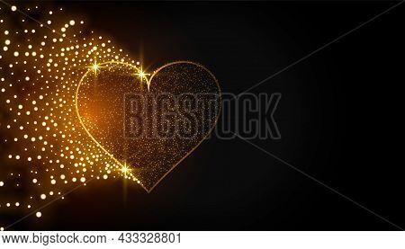 Sparkling Golden Heart On Black Background Vector Design Illustration