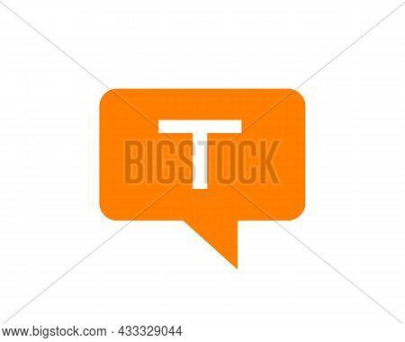 Chat Logo On T Letter Concept. Letter T Chat Logo. Letter T Communication Logo Design Template