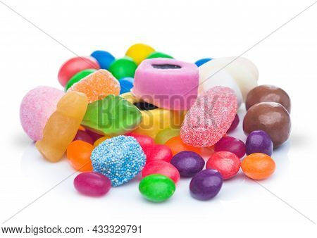 Liquorice Allsorts Sweets With Jelly Sugar Sweets And Beans With Milk Chocolate Candies On White Bac