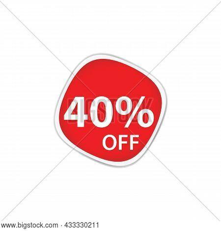 40 Percent Discount, Sales Vector Badges For Labels, Percent Sale Label Symbols, Tags, Web Stickers,