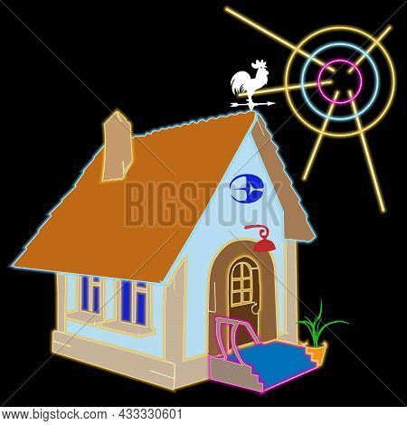 Buildings With Neon Lighting Windows. Top View Of Illuminated Houses. Cityscape Background. Vector U