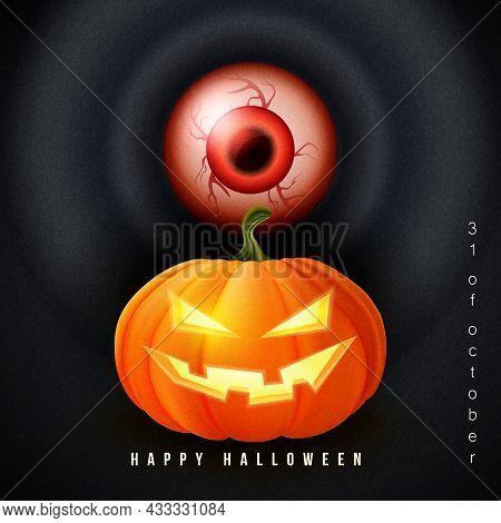 Happy Halloween 3d Realistic Scary Jack Lantern And Red Bloodshot Eyeball