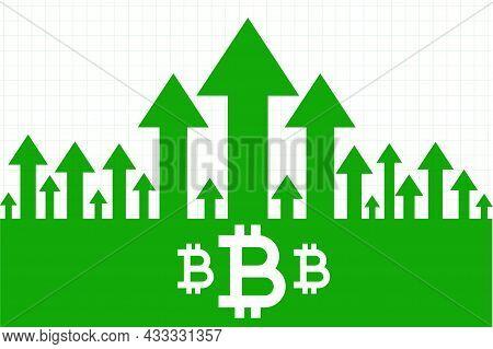 Bitcoin Growth Upward Green Arrow Concept Vector Design Illustration