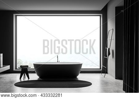 Side View On Dark Bathroom Interior With Bathtub, Shower, Panoramic Window With Countryside View, Ca