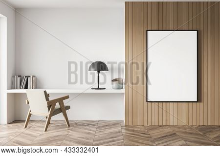 Wooden Bedroom Area With A Framed Canvas On The Paneling Wall. Parquet Flooring, A Niche Desk With T