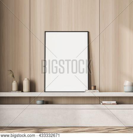 Empty Framed Standing Canvas For Beige Living Room Design, Using The Open Shelf Above The Basement L