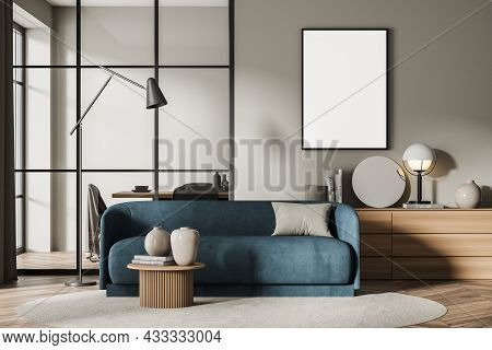 Canvas In The Beige Living Room Interior With A Sideboard, An Accent Blue Sofa And A Dining Room Wit