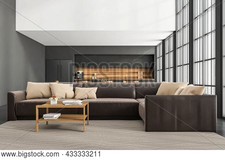 Front View On Kitchen Room Interior With Concrete Floor, Empty White Wall, Black Sofa, Panoramic Win