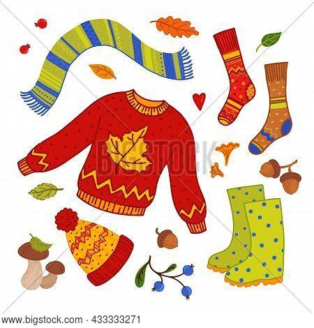 Cozy Autumn Elements Set. Cozy Warm Clothes