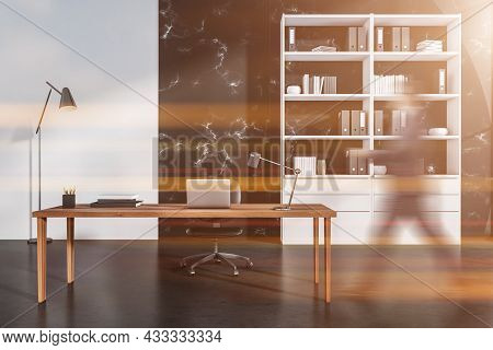 Businessman Wearing Formal Suit Is Walking Inside Office Room Interior With Laptop, Comfortable Armc