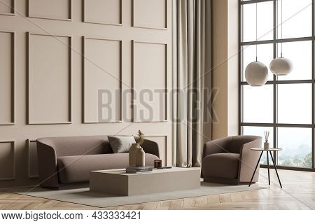 Corner Of The Panoramic Beige Living Room Interior With The Light Brown Furniture, Coffee Tables, Pe