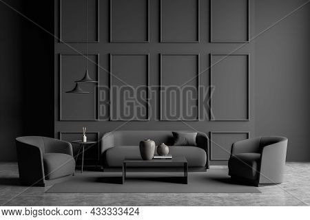 Dark Grey Living Room Interior With Two Coffee Tables, Pendant Lights, Wall Moulding, A Sofa With Tw