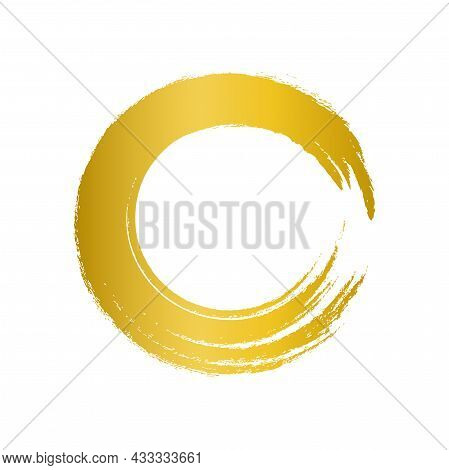 Gold Circle Brush Enso Symbol, Golden Smear Circle Shape With Scribble Hand Drawn, Golden Stain On W