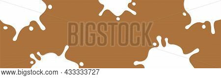 Milk Splash On Chocolate Brown Color For Banner, Milky Splatter Isolated On Brown Background, Copy S