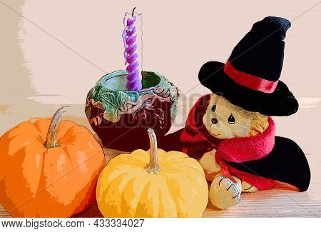 Illustration Of An Adorable Lion Toy In Wizard Costume With Vivid Color Halloween Decoration