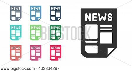 Black News Icon Isolated On White Background. Newspaper Sign. Mass Media Symbol. Set Icons Colorful.