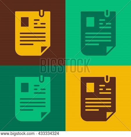 Pop Art Resume Icon Isolated On Color Background. Cv Application. Searching Professional Staff. Anal