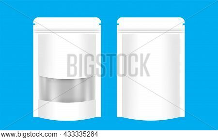 Zipper Paper Bag White Packaging With Transparent Window Label, Coffee Bag Paper Kraft White, Paper