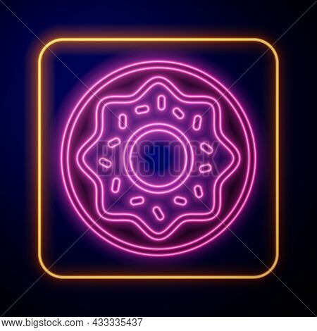 Glowing Neon Donut With Sweet Glaze Icon Isolated On Black Background. Vector