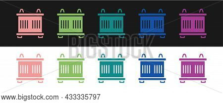 Set Container Icon Isolated On Black And White Background. Crane Lifts A Container With Cargo. Vecto