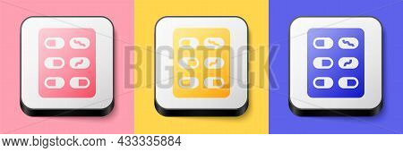 Isometric Pills In Blister Pack Icon Isolated On Pink, Yellow And Blue Background. Medical Drug Pack