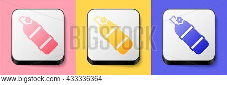 Isometric Aqualung Icon Isolated On Pink, Yellow And Blue Background. Oxygen Tank For Diver. Diving