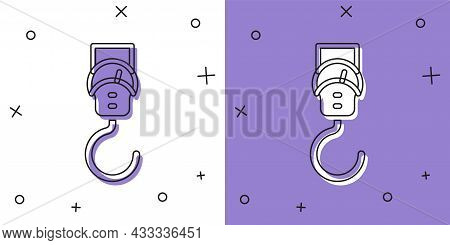 Set Spring Scale Icon Isolated On White And Purple Background. Balance For Weighing. Determination O