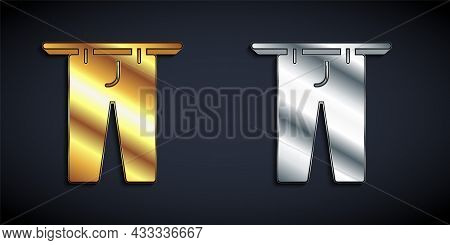 Gold And Silver Drying Clothes Icon Isolated On Black Background. Clean Pants. Wash Clothes On A Rop