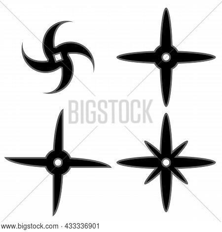 Set Of Ninja Star. Asian Traditional Weapon. Shuriken Logo