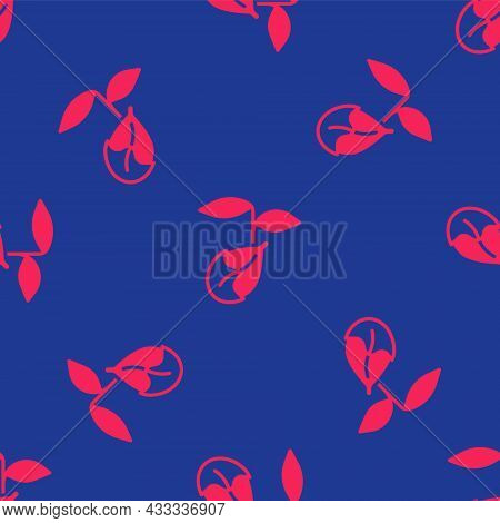 Red Sprout Icon Isolated Seamless Pattern On Blue Background. Seed And Seedling. Leaves Sign. Leaf N