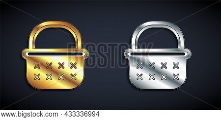 Gold And Silver Wicker Basket Icon Isolated On Black Background. Long Shadow Style. Vector