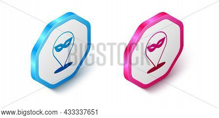 Isometric Carnival Mask Icon Isolated On White Background. Masquerade Party Mask. Hexagon Button. Ve