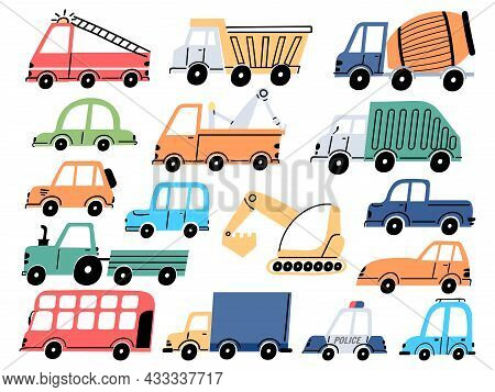 Kids Transport And Cars, Construction Tractor, Excavator And Digger. Cartoon Children Fire Engine, D