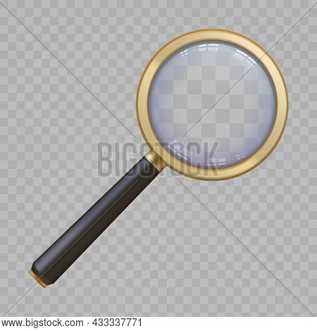 3d Golden Magnify Glass With Handle And Lens Zoom View. Realistic Magnifier Loupe. Search Or Analyti