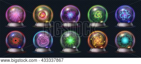 Realistic Magic Crystal Ball With Glowing Energy And Lightnings. Fortune Predict Sphere, Occult Glas