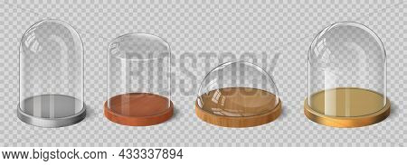 Realistic 3d Glass Domes With Wooden, Silver And Gold Tray. Crystal Bell, Cylinder And Hemispherical