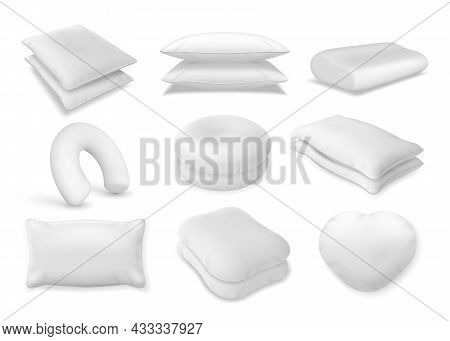 3d Realistic Neck Pillow And Sofa Cushion Mockup. Fluffy Bolster Pile, Heart Beanbag Top View. Soft