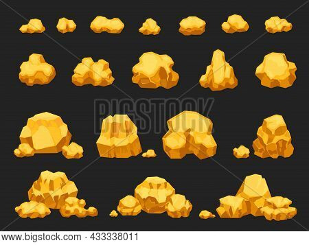 Cartoon Gold Mine Nuggets, Boulders, Stones And Piles. Natural Shiny Solid Golden Rock Heap. Jewel N